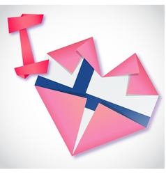 Origami paper I love Finland heart card vector image