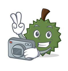 photographer durian mascot cartoon style vector image