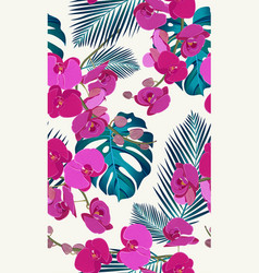 pink orchid floral seamless pattern with tropical vector image