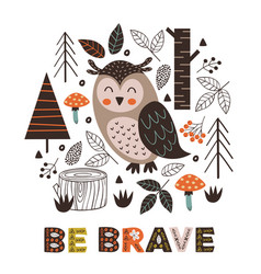 Poster owl in forest scandinavian style vector