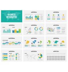 presentation slides business template with maps vector image