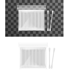 Realistic cotton ear swabs in package with stick vector