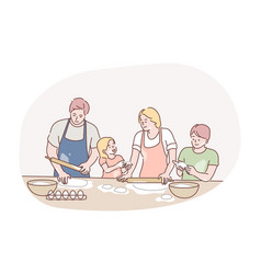 recreation cooking family day concept vector image