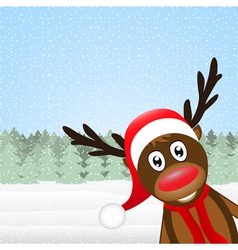 reindeer peeking side in the forest vector image