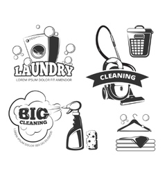 Retro cleaning and laundry services labels vector