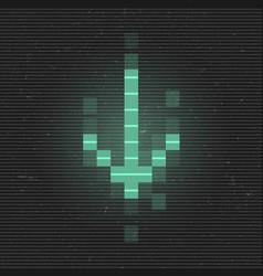 Retrofuturistic glitch arrow to down green vector