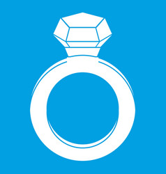 Ring with gemstone icon white vector