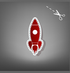 rocket sign red icon with vector image