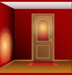 Room interior with door vector