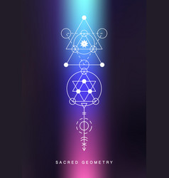 sacred geometry sign alchemy linear art vector image