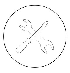 screwdriver and wrench the black color icon in vector image