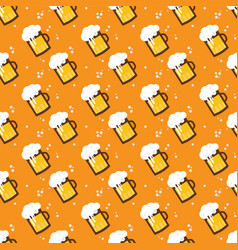 seamless beer pattern beer mugs and glasses on an vector image