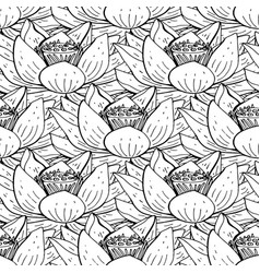 Seamless floral pattern with lotus flower vector