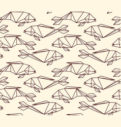 Seamless linear abstract polygon fish pattern vector