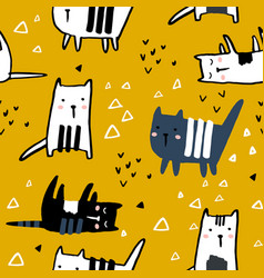 seamless pattern with hand drawn cats and vector image