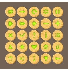 set cartoon wood buttons with web icons vector image