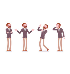 set of male professional teacher showing negative vector image