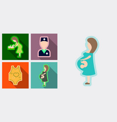 Set of medical icons mether with baby doctor vector