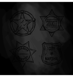 sheriff and marshal badges vector image