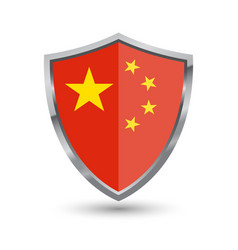shield with flag of china isolated vector image