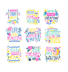 Short possitive messages inspirational quotes vector