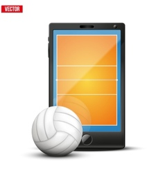Smartphone with volleyball ball and field on the vector image