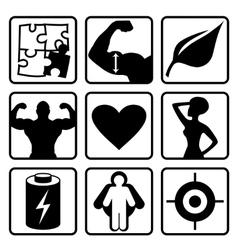 Sport nutrition icon set vector