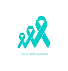Teal Ribbon Ovarian Cancer flat design cooperated vector image