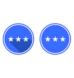 three stars round flat icon rating icon isolated vector image