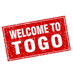 Togo red square grunge welcome to stamp vector