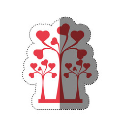 Trees heart decorative shadow vector