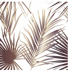 Tropical exotic floral line golden palm leaves vector