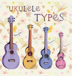 Ukulele types vector