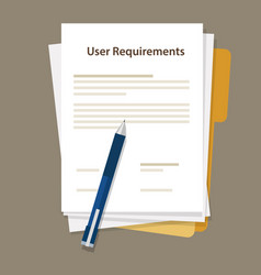 User requirements specifications document paper vector