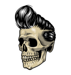 vintage colorful rock singer skull concept vector image