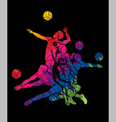 Volleyball sport action cartoon graphic vector