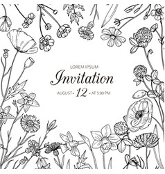 wildflower background wedding invitation with vector image
