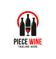 wine bottle and glass logo vector image