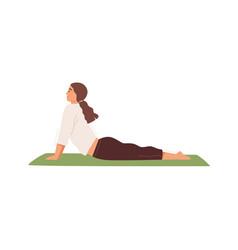 woman practicing hatha yoga on mat flat vector image