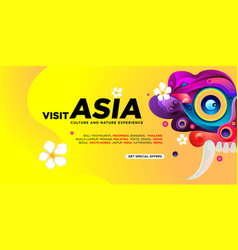 World travel day asian visit banner template vector