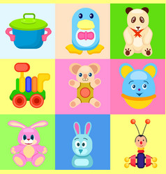 colorful childrens toys in bright squares set vector image vector image