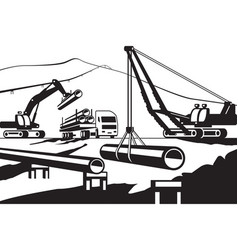 construction of above ground pipeline vector image vector image