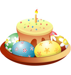 dish with easter cake and eggs vector image