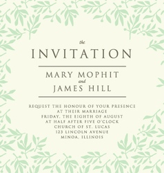 Invitation with pattern olive branch vector