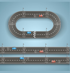 racing on the road vector image