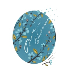 Spring Flowers and Leaves Branches Drawing vector image vector image