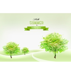 Beautiful green summer nature background vector image vector image