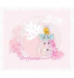 Bottle of perfume with a floral aroma vector image