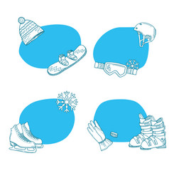 hand drawn winter sports equipment stickers vector image