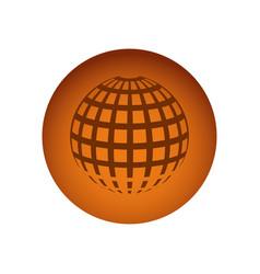 orange emblem global planet icon vector image vector image